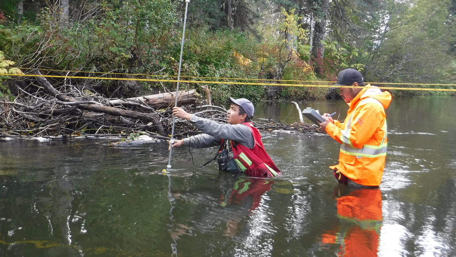 Guardians James Morgan and Dustin Gray conduct water testing in the Gitanyow Lax'yip, summer 2016.
